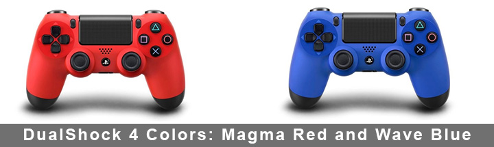 DualShock 4 colors: Magma Red and Wave Blue.