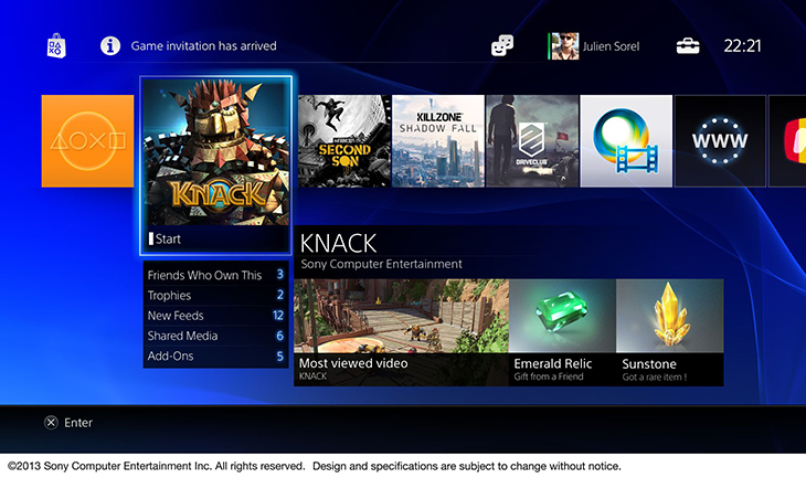 PS4 Home Page